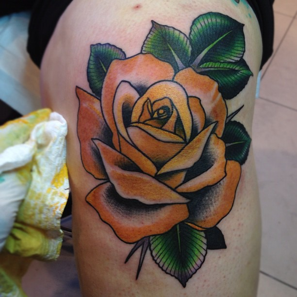 Stacie michelle my tattoos every rose has its thorn for Yellow rose tattoo